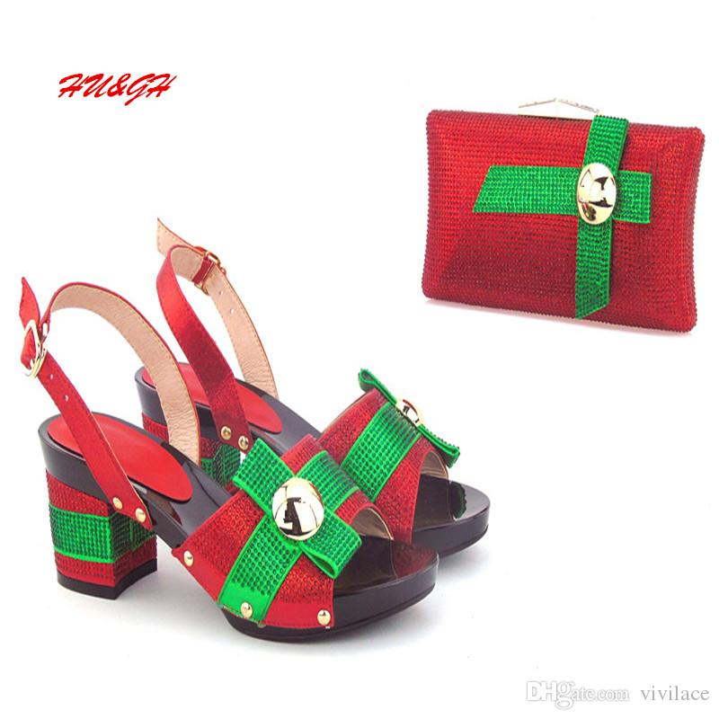 VIVILACE HU&GH Design Italian Shoes And Matching Bag Set For Wedding New Africa Rhinestone Pumps Shoes And Bag Set For Party