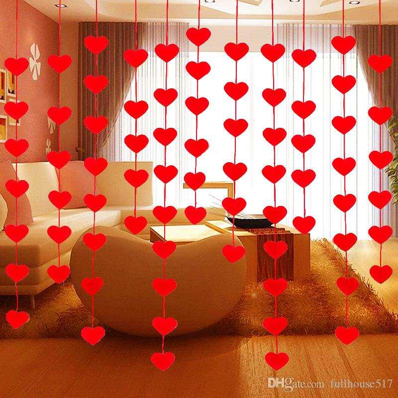 Non Woven Fabric Hanging Red Heart String valentine day party decorations  Engagement Wedding Party line door curtains free shipping