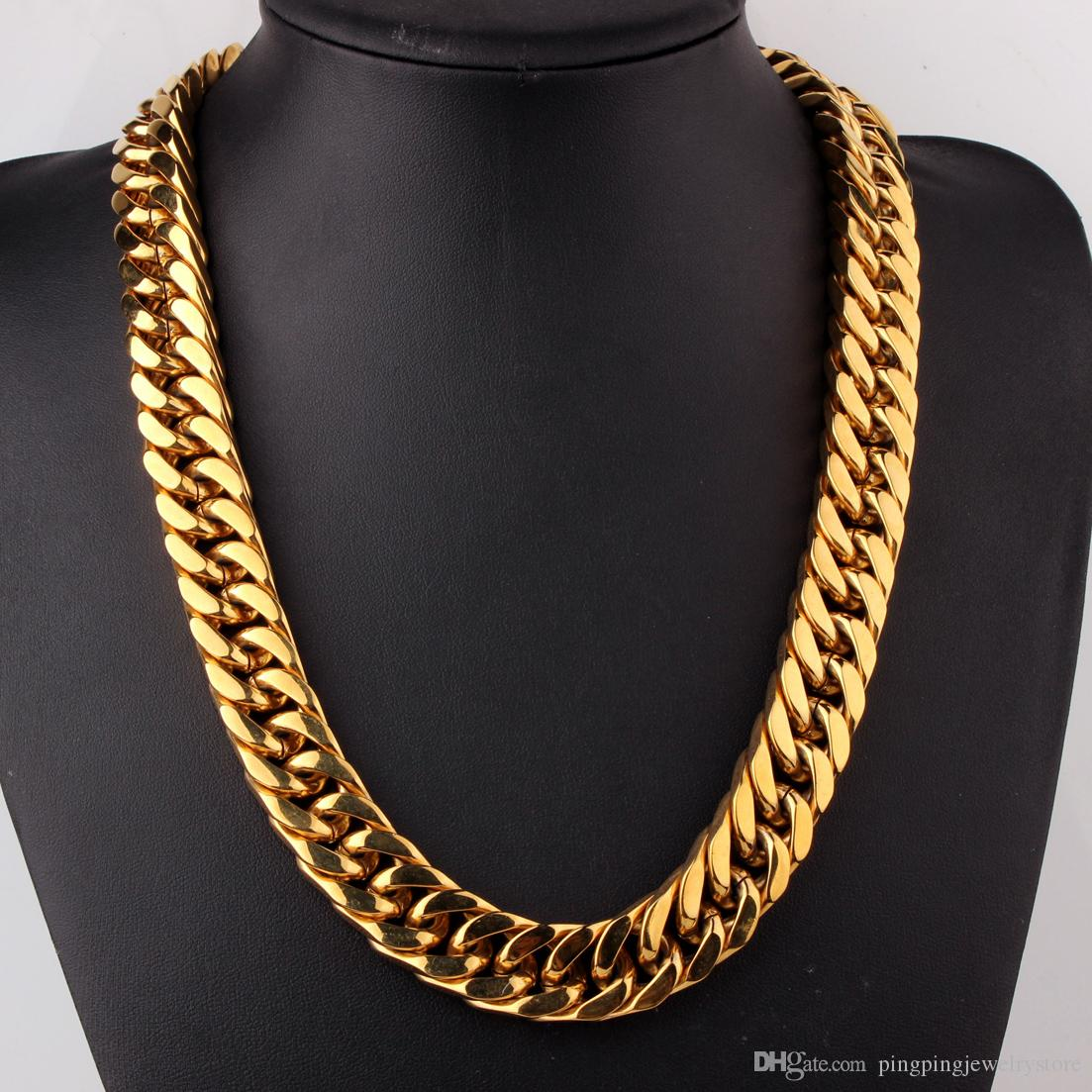 2020 Customize Size 18 36 17mm Top Quality 316l Stainless Steel Gold Plated Curb Cuban Chain Mens Women Necklace Gift From Pingpingjewelrystore 21 96 Dhgate Com