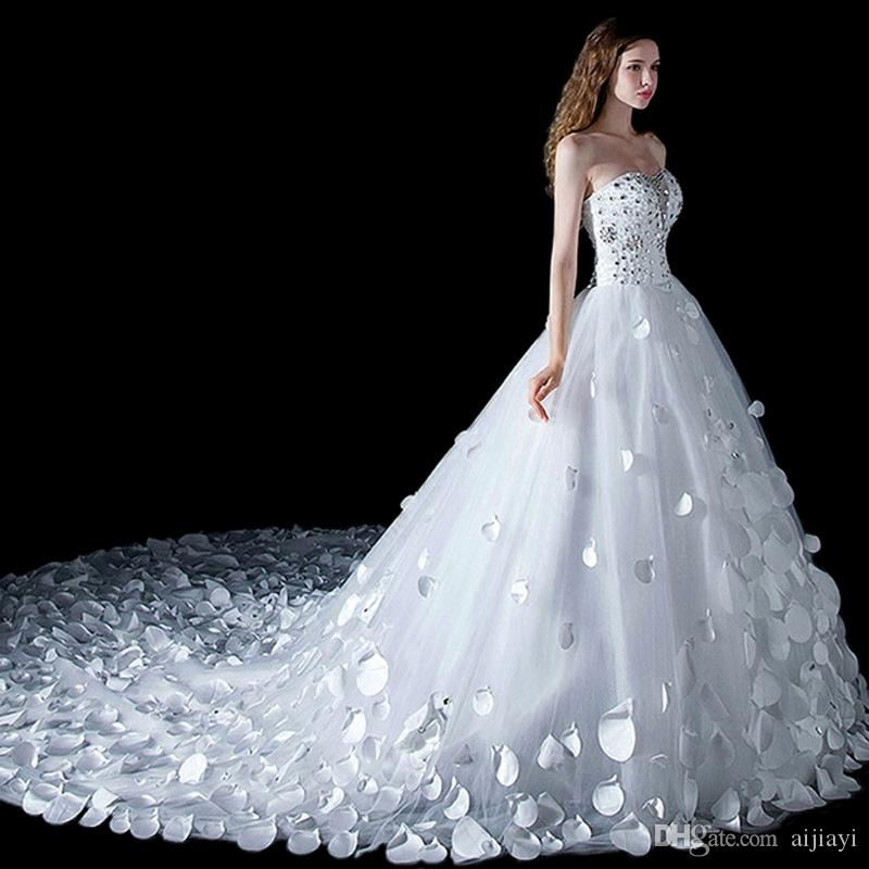 Long Train Wedding Dress Big Ball Gown 2017 Love Crystal