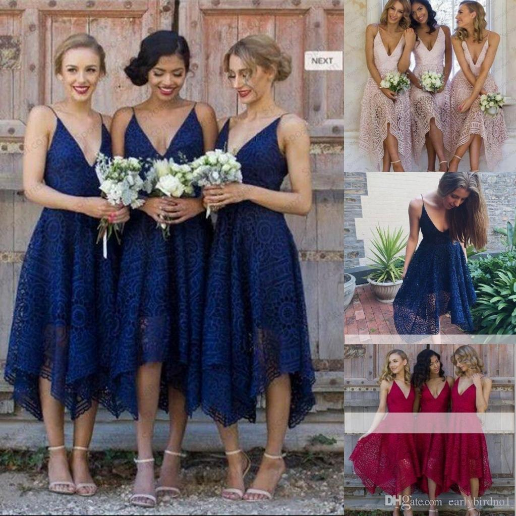 Discount blue bridesmaid dresses for winter wedding 2018 blue 2018 new elegant spaghetti straps bridesmaid dresses lace country style maid of honor wedding guest gown hot sale for wedding blue bridesmaid dresses for ombrellifo Image collections