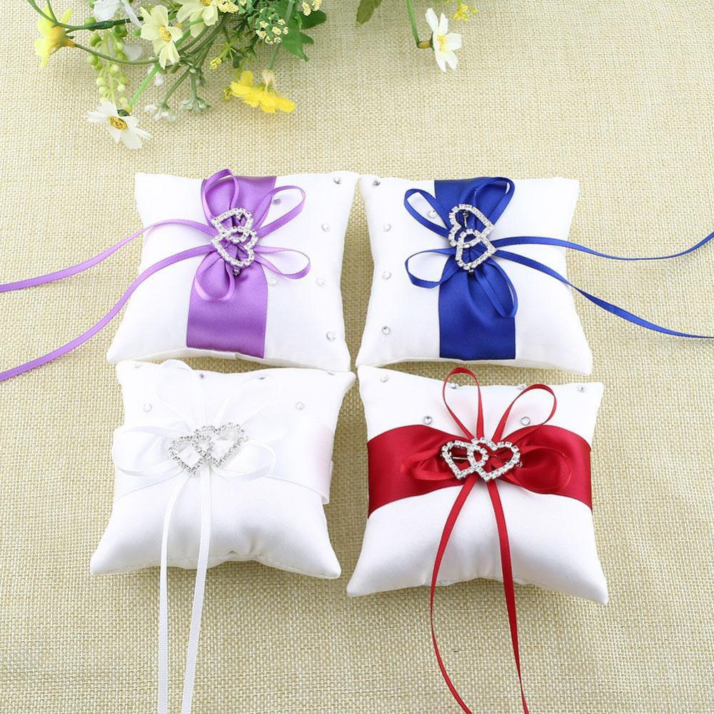 Wholesale Ring Bearer Pillow Cushions Rhinestone Double Heart Gift ...