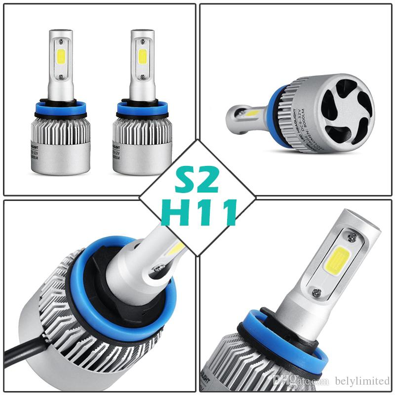 S2 High/Dipped Beam COB Chips H7 LED Headlight Kits Auto Head Light H11 Fog Lamps H13 H4 9006 with Fan