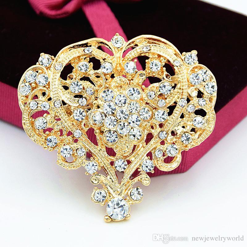 خمر الأزياء الروديوم مطلي مذهل بلورات كبيرة القلب زهرة بروش النساء دبابيس الزفاف باقة الساخن بيع أعلى جودة