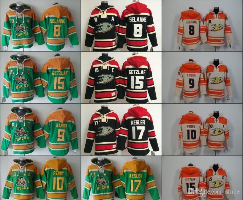 34f01e527 2019 Anaheim Mighty Ducks Jerseys Mens 8 Selanne 15 Getzlaf 9 Kariya 17  Kesler 10 Perry Hoodie Cream Orange Top Quality Ice Hockey Hoodies From  Since