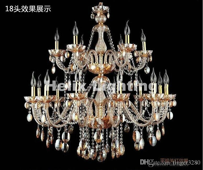 Hot Selling Amber color Crystal Chandelier Light Fixture Glass Candle chandelier lamp 12+6L D1050mm 100% Guanranteed