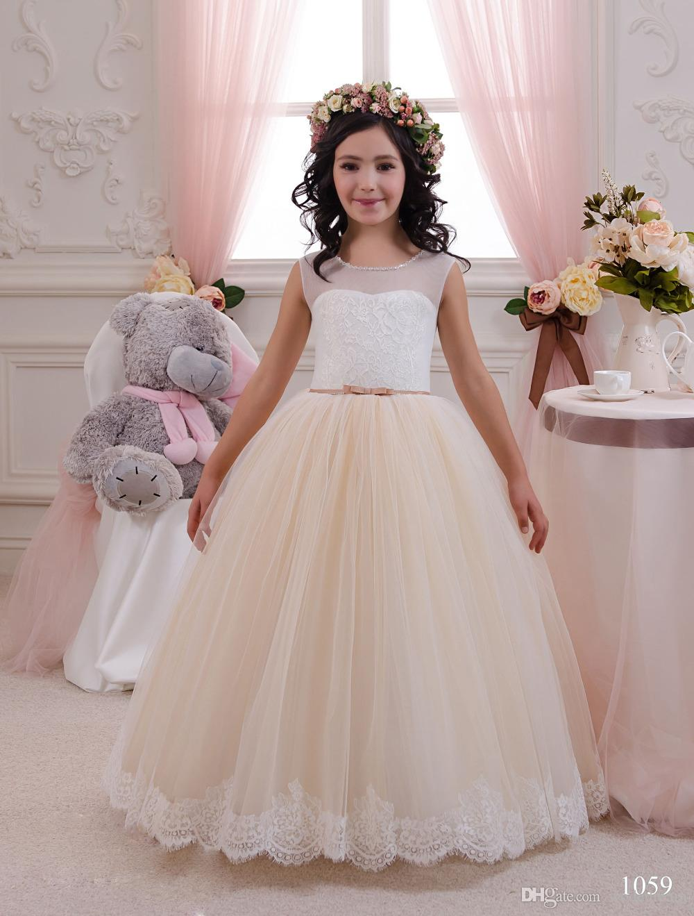 2018 New Champagne Flower Girl Dresses Sheer Coral Bow Sashes