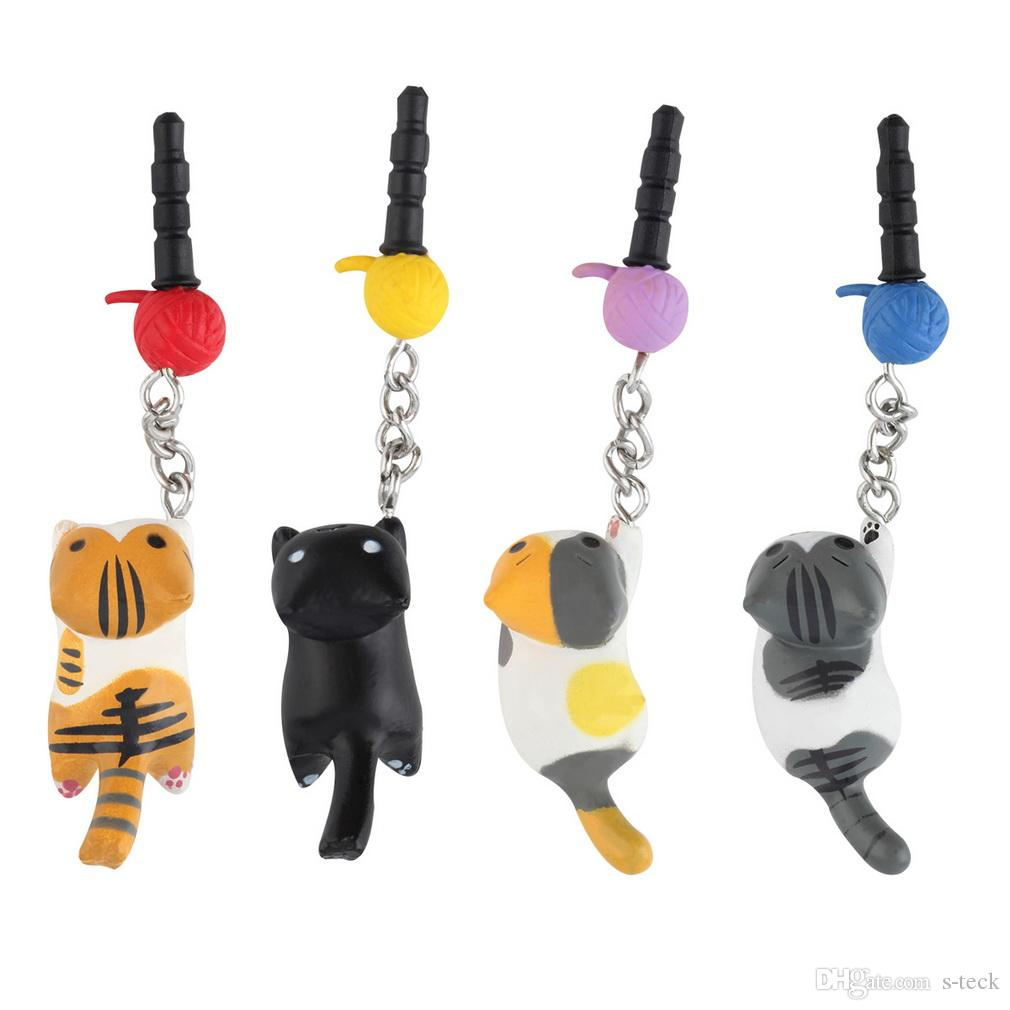Cat Playing Ball 3.5mm Anti Dust Earphone Jack Plug Stopper For Phone