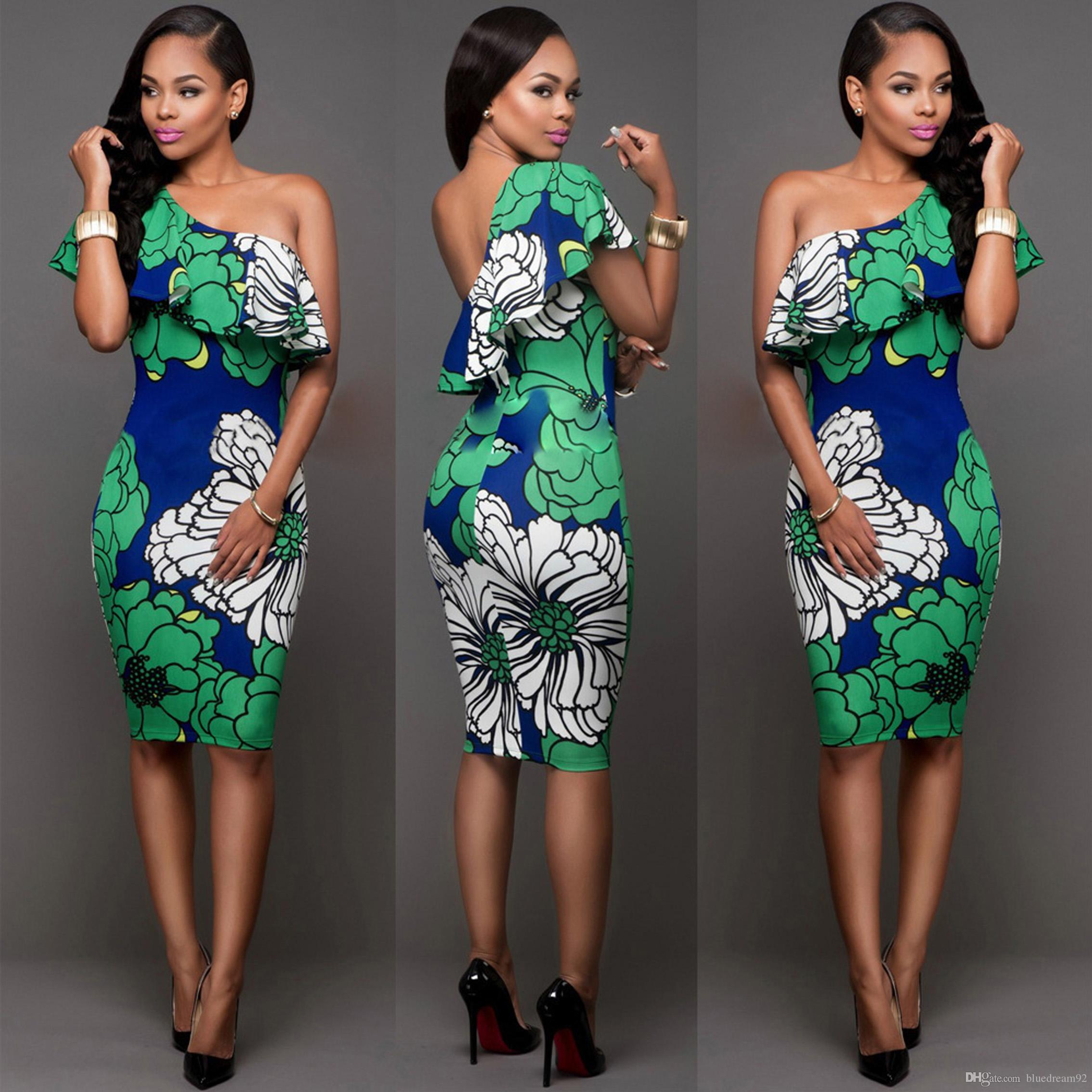 50be9365bcc 2019 Cocktail Dress Night Club Fashion Bodycon Shoulder Sexy Woman Dress  Summer Party Bandage Floral Print Dress Women Clothing Club Dresses From ...