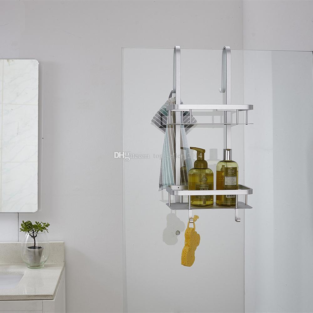 Acquista 2 file bagno sopra la porta doccia carrello caddy organizzatore pensile antiruggine - Porta bagnoschiuma per doccia ...