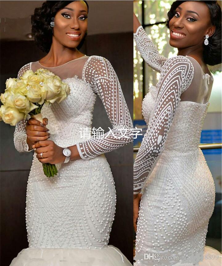Sexy African Long Sleeve Sparkly Pearls Mermaid Wedding Dresses 2017 Luxury Court Train Sheer Back Princess Fishtail Bridal Dress Organza