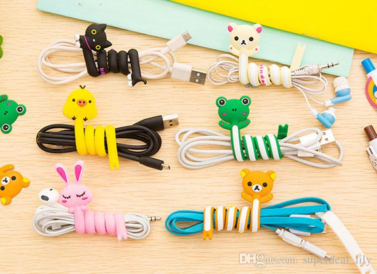 Cute 3D Cartoon Animal Earphone Organizer Wire Cord Cable Winder Wrap Holder For iPhone 7 6s Samsung Phones Headphone