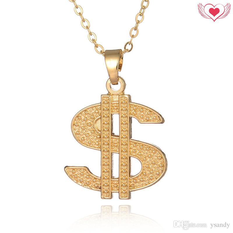 2c78dacc6cfa Compre Hip Hop Cantante Estilo Dólar Signo Colgante Hombres Collar Cadena  De Enlace De Oro Collar Fresco Accesorios De La Joyería A  13.07 Del Ysandy  ...