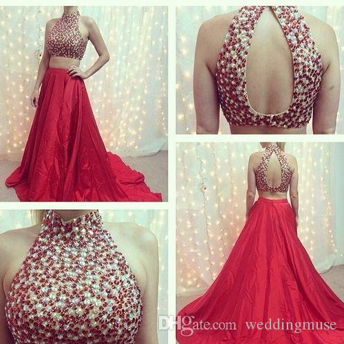 Two Pieces Prom Dresses Real Halter Sexy Sleeveless Split Crystal Beaded Handmade Long Formal Evening Party Dress