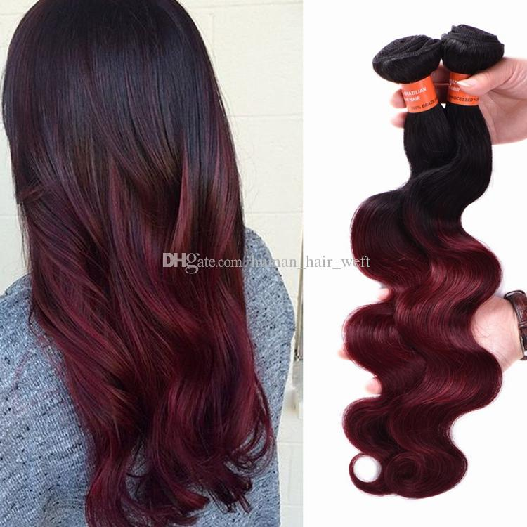 Ombre Brazilian Hair Body Wave T 1b 99j Dark Wine Burgundy Colored