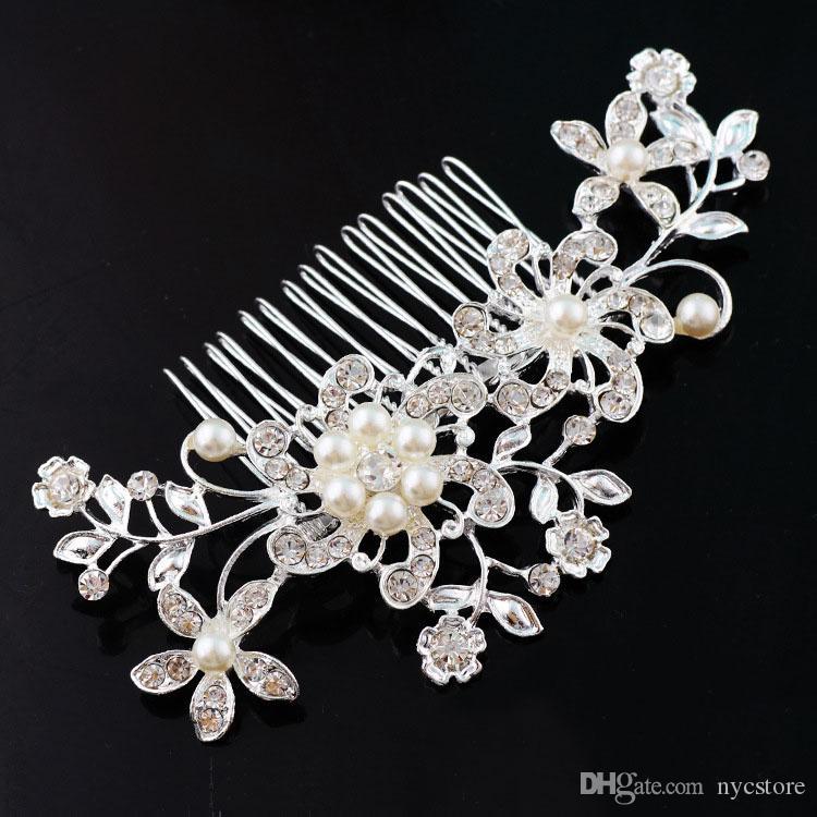 Braut Hochzeit Tiaras Atemberaubende feine Kamm Braut Kopfschmuck Schmuck Zubehör Crystal Pearl Hair Brush utterfly Haarnadel für die Braut