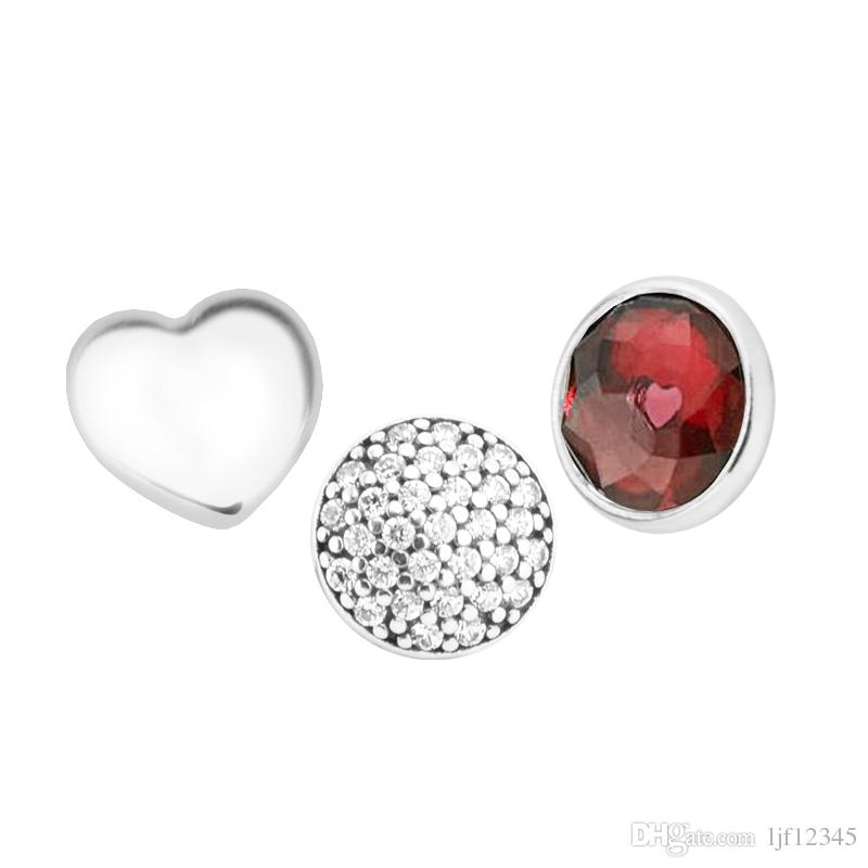 January Petites Garnet & Clear CZ Charm for Locket necklace Charms Fits Pandora Bracelet sterling silver jewelry making charms