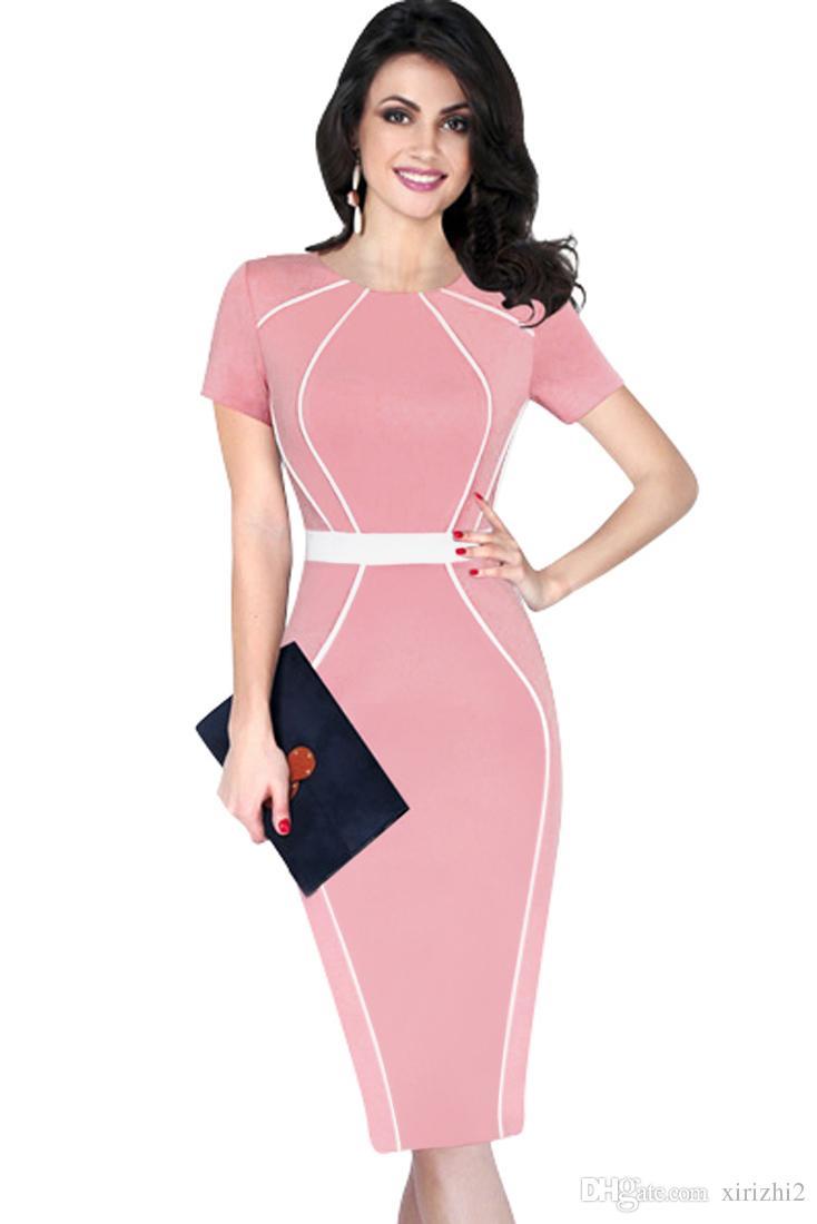 Compre Vestido De Mujer Lápiz Rosa 2017 Verano Nuevo O Cuello ...