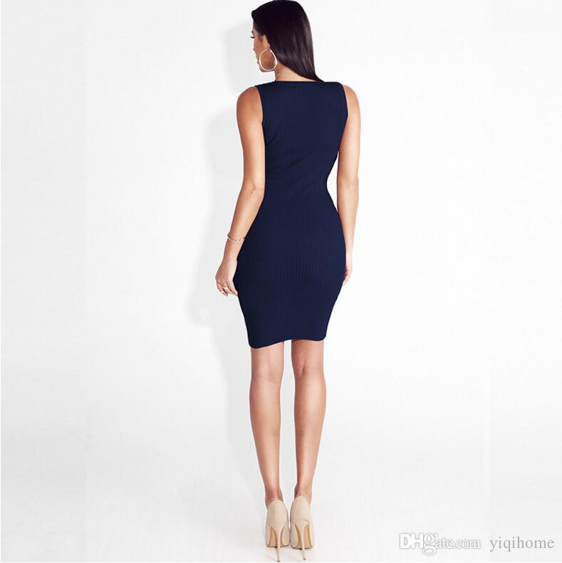 Seksi Bodycon Katı Tankı Elbise Derin O boyun Metal Düğme Elbiseler Rahat Kısa Cepler Sonbahar Elbise