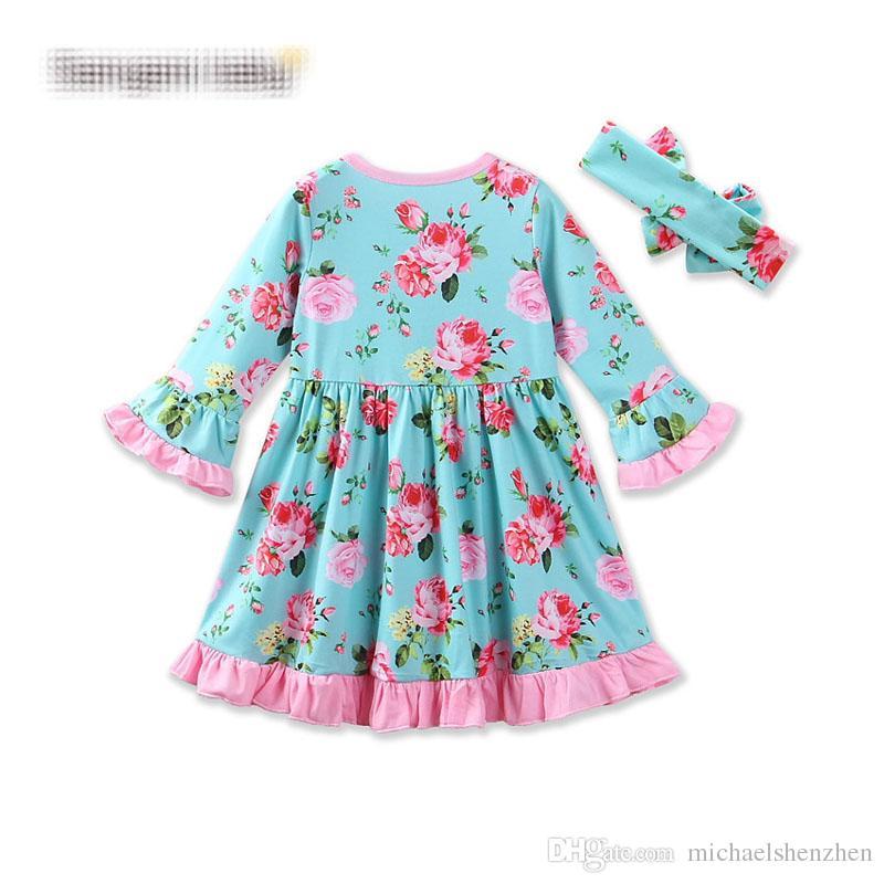 Chica ins flor banda para el cabello vestido de princesa 2017 nuevos niños de dibujos animados cuello flare manga larga vestidos ropa 0-3 años B001
