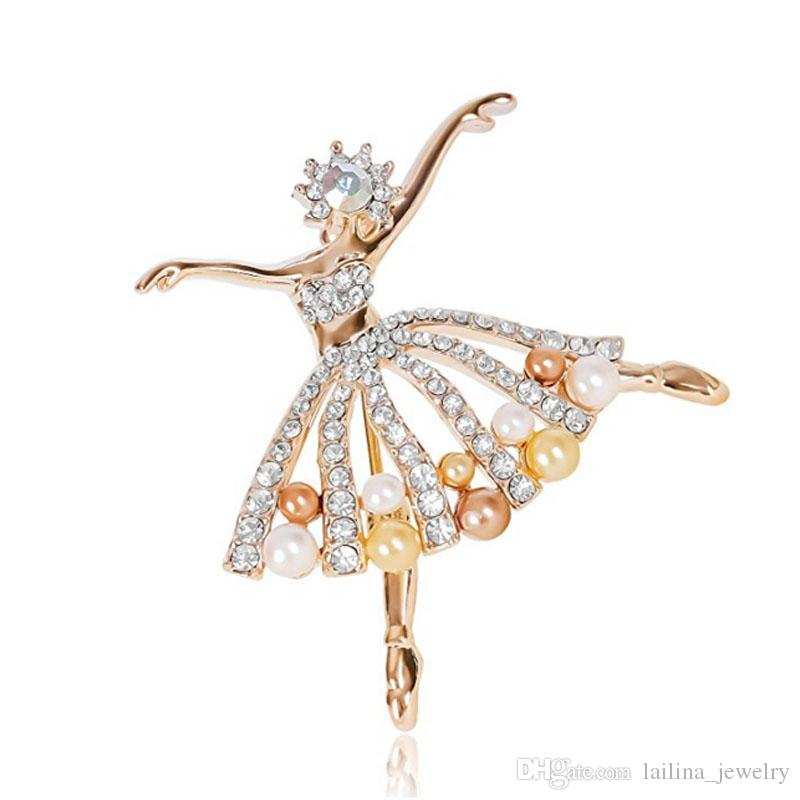 Trendy Flower Girl Jewelry Gold-Tone Clear Crystal Dancing Ballet Girl Art Deco Accessory Brooch Pin