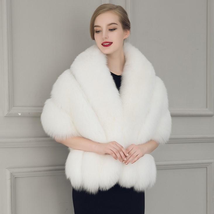 2018 New Black White Fur Bride Shawl Cape Coat Women Cloak Faux Fur Big  Poncho Casacos Femininos UK 2019 From Akaya fb90f1a40