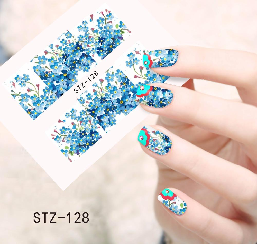 Wholesale New Arrival Small Flower Nail Art Stickers Blue Colors 3d