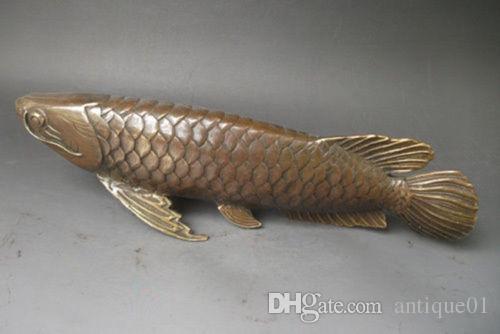 Colección realista de peces de bronce antiguo arowana estatua 28x8 CM decoración del hogar