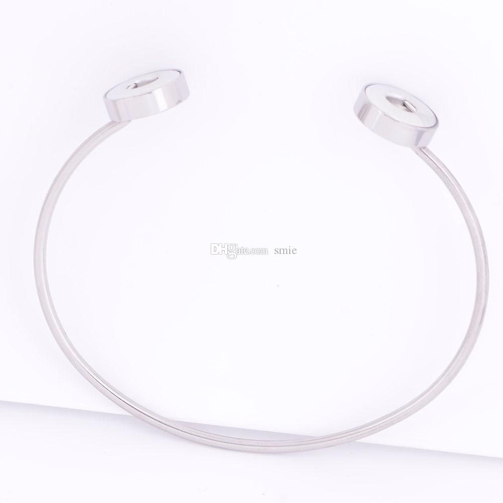 Noosa chunks stainless steel 2 buttons snaps jewelry bracelet fit 12mm ginger snap button charm open bracelets