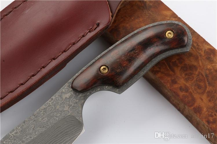 Drop shipping Damascus Fixed Blade Knife Snake Wood Handle Outdoor Camping Hiking Hunting Survival Straight Knives With Leather Sheath