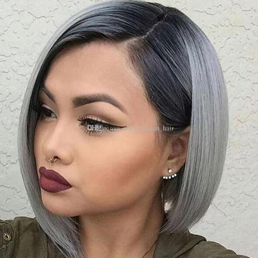 Full Lace Human Hair wigs Bob Wigs Ombre Two Tone T1B/Grey Straight Brazilian Virgin Hair 150 Density Bleached Knots Lace Front Wigs