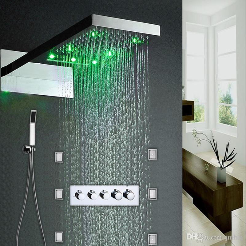 2019 6 jets led rain shower set easy installed in wall 22 spa rh dhgate com