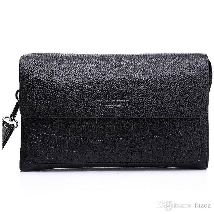online store a2fa2 016a5 Male Genuine Leather Wallet Wristlet Purse Mobile Phone Case Money Clip  Coin Credit Card Holder Black Leather Clutch For Men