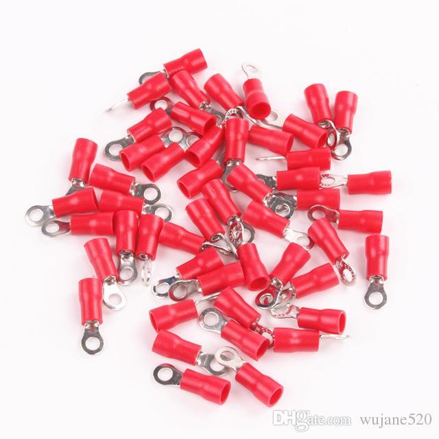 Kırmızı İzoleli Sıkma Halkası Terminali RV1.25 22-16AWG # 4 # 6 # 8 # 10 1/4 Cıvata Elektrik Kıvrım Kablo Kablo Konnektörü için