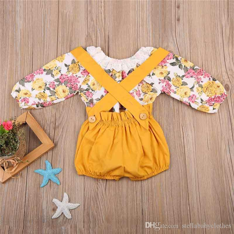 Spring Autumn Baby Girls Clothes Suspender Trousers with Floral Print Bodysuit Girls Clothing Set Fashion Sweet Girls Boutique Clothes