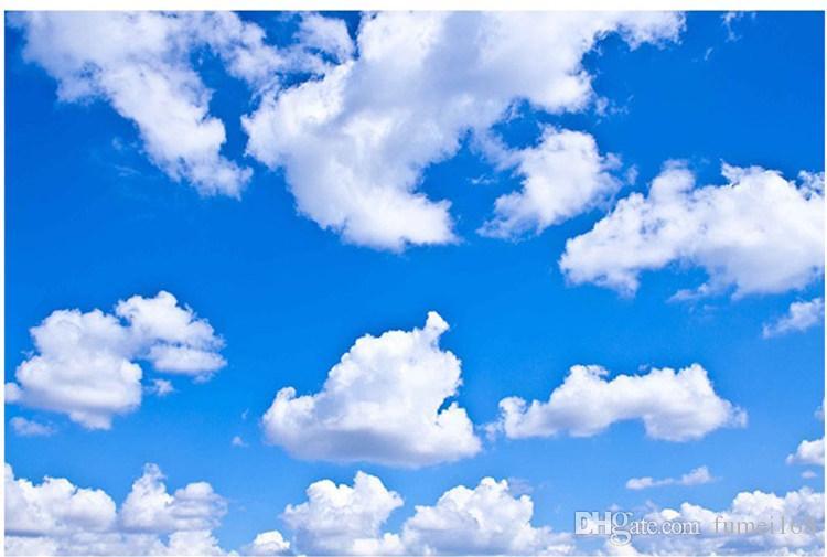 Bleu Ciel Blanc Nuage Papier Peint Mural Salon Chambre Toit Plafond 3d Papier Peint Plafond Grand Ciel Étoilé Fond d'écran