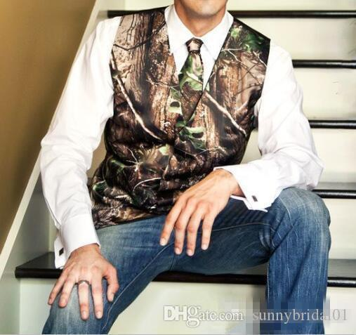 2017 New Fashion Camo Groom Vest Formal Tuxedo For Wedding Vintage Country Bohemian Groomman Suit Attire Grooms