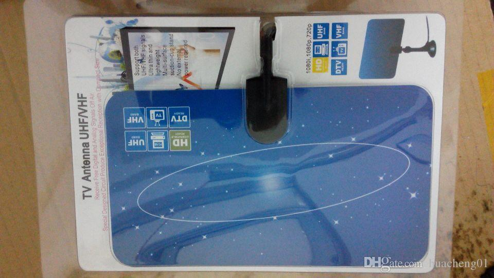 Antenna TV digitale interno HDTV DTV HD VHF UHF Design piatto High Gain US / EU Plug Nuovo ricevitore TV Antenna di DHL