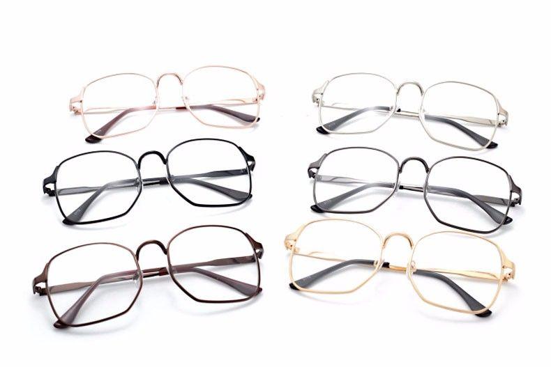 Hommes Métal Femmes Effacer Grau Optique Carré De Lunettes Vintage Oculos Cadre Plain Mode Dbe9IHYW2E