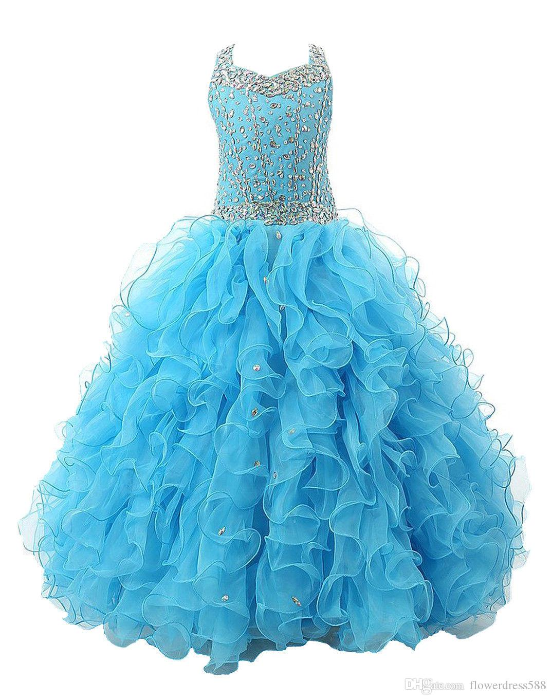Hot Stock Size Bule Layer Beads Pre Teen Party Gowns Little Girls ...
