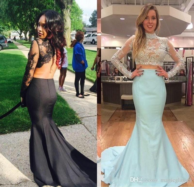 f4ac9696d5f Two Pieces Mermaid Prom Dresses Cheap Long Sleeves Sexy Arabic Backless  Lace Applique High Neck Evening Pageant Gowns Plus Size Elegant Cheap  Pretty Prom ...