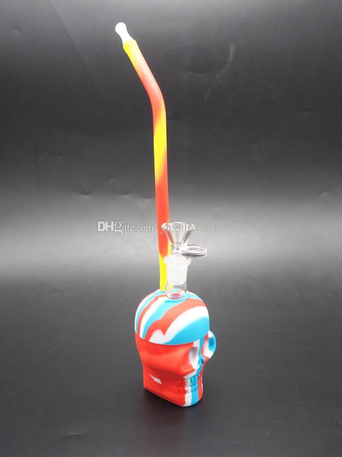 tubo de água crânio desenho Handy crânio, dab plataforma petrolífera novos tubos de água de silicone, bongs de silicone, silicone shisha narguilé
