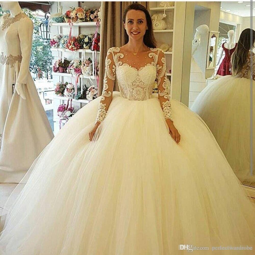 Cheap Plus Size Wedding Dress 2017 Beaded Strapless Bodice: 2017 Vintage Ball Gowns Wedding Dresses With Long Sleeves
