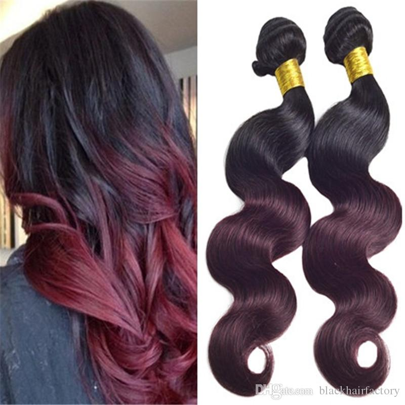 Dark Root Ombre 1b 99j Burgundy Two Tone Human Hair Weft Bundles