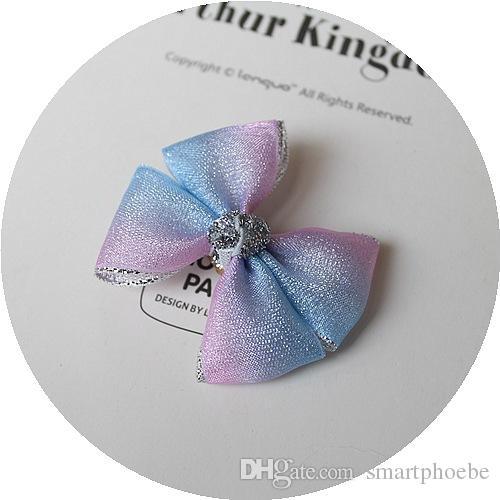 Wholesale 9C Fashion Glitter Gauze Hair Bow Baby Girls Hair Clips