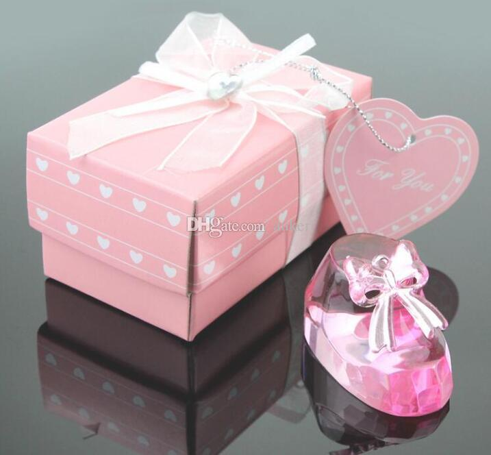 Clear Crystal Cute Pink Princess Baby Shoes Favors Baby Shower