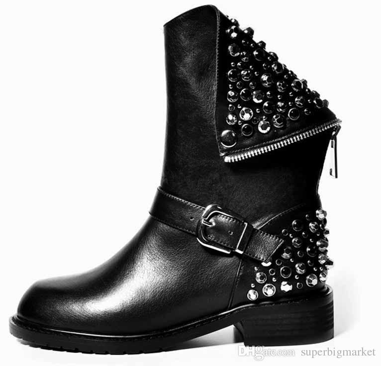 MORAZORA Stivali PU + vera pelle di alta qualità rivetti tacchi quadrati autunno inverno stivaletti stivali da neve in pelliccia sexy scarpe donna