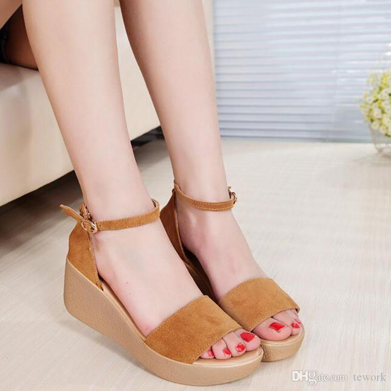 1b0ae997dee7a4 Women Sandals 2017 Summer New Open Toe Fish Head Fashion Platform High  Heels Wedge Sandals Female Shoes Women Shoes Big Size Tan Wedges Fringe  Sandals From ...