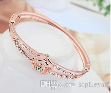 2017 New Arrival Dream Rose Lady Austria Crystal Bracelet Fashion Bangle Platimun Plated Make With Swarovski Elements