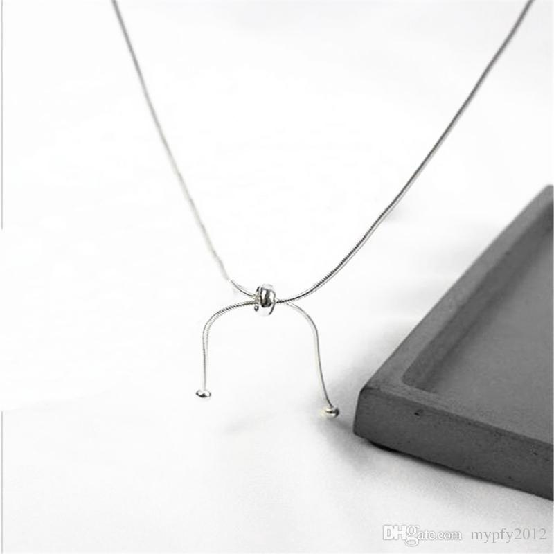New Fashion 925 Sterling Silver Snake Chain Ball Adjustable Necklaces For Women Girls White Gold Plated Choker Collar Jewelry